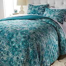 Concierge Collection Printed Velvet Comforter Set - Full/Queen