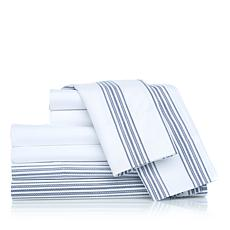 Concierge Solid and Stripe 2pk Microfiber Sheet Set