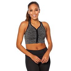 Copper Fit™ Racerback Zip-Front Heather Sports Bra