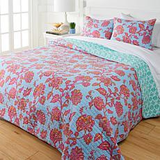 Cottage Collection 100% Cotton Stitched 3-pc Quilt Set - Blue Floral