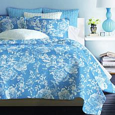 Cottage Collection Blue Rose 100% Cotton 3-piece Quilt Set
