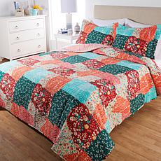 Cottage Collection Reversible Printed 3-piece Quilt Set