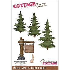 CottageCutz Rustic Sign and Trees Die