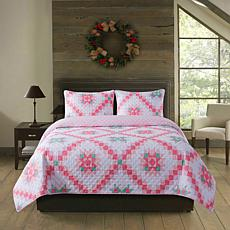 Country Living 2-piece Holiday Twin Quilt Set - Retro Star