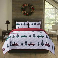 Country Living 2-piece Holiday Twin Quilt Set - Vintage Truck