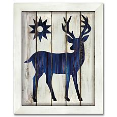 "Courtside Market Buck and Sun 10.5"" x 14"" Wood Art - Navy Blue"