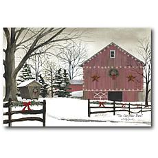 Courtside Market Christmas Red Barn 18x26 Canvas Wall Art