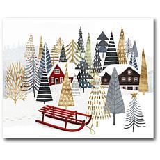 Courtside Market Christmas Woodland IV 20x24 Canvas Wall Art