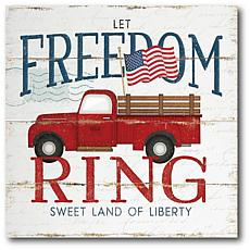 """Courtside Market Let Freedom Ring Truck Canvas Wall Art - 16"""" x 16"""""""