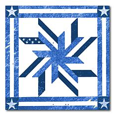 """Courtside Market Quilt Square Blue & White 3 Canvas Wall Art - 16x16"""""""