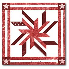 """Courtside Market Quilt Square Red & White 3 Canvas Wall Art - 24 x 24"""""""