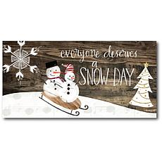 "Courtside Market Snow Day 10.5"" x 14"" Wood Art"