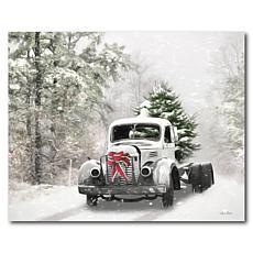 Courtside Market Snowy Christmas Truck 20x24 Canvas Wall Art