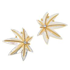 Cristina Sabatini Gold-Tone Mother-of-Pearl CZ Paradise Flora Earrings