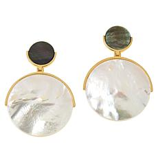 Cristina Sabatini Gold-Tone Mother-of-Pearl or Abalone Disc Earrings