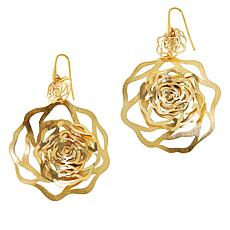 Cristina Sabatini Gold-Tone Sterling Silver Rose Drop Earrings