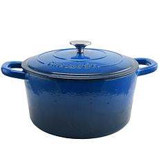 Crock Pot Zesty Flavors 7 Quart Round Cast Iron Dutch Oven in Sapph...