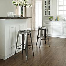 Crosley Amelia Metal Cafe Barstools - Galvanized Steel