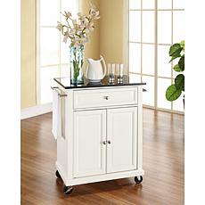 Crosley Black Granite Top Portable Kitchen Cart - White