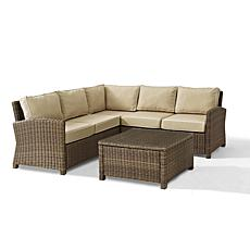 Crosley Bradenton 4pc Outdoor Wicker Sectional - Sand