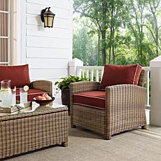 Crosley Bradenton Outdoor Wicker Arm Chair - Sangria