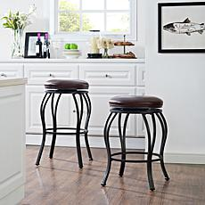 Crosley Furniture Kemper Swivel Counter Stool - Black/Brown Cushion