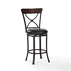Crosley Furniture Pruitt Swivel Counter Stool - Black/Black Cushion