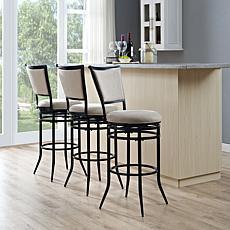 Crosley Furniture Rachel Swivel Bar Stool - Black/White Cushion