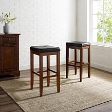"Crosley Furniture Upholstered Square Seat 2pc 29"" Bar Stools -Mahogany"