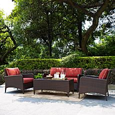 Crosley Kiawah 4pc Outdoor Wicker Seating Set - Sangria