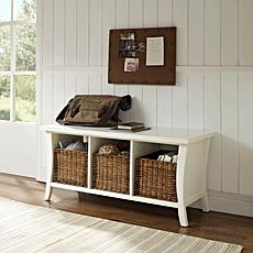 Crosley Wallis Entryway Storage Bench - White