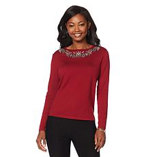 Curations Beaded Knit Top