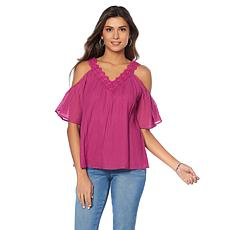 Curations Cold-Shoulder Gauze Blouse