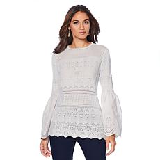 Curations Crochet Knit Bell-Sleeve Top