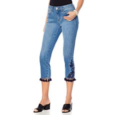 Curations Embroidered Cropped Jean with Tassels