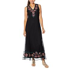 Curations Embroidered Mesh Dress with Slip