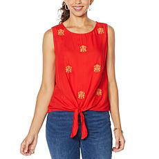 Curations Embroidered Tie-Front Tank
