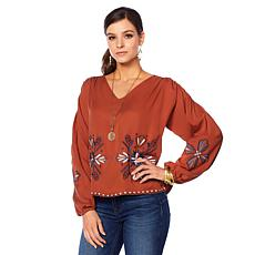 Curations Embroidered Woven V-Neck Top
