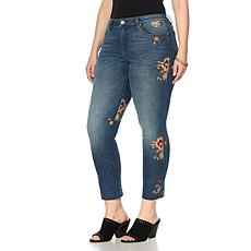 Curations Floral Embroidered Jean