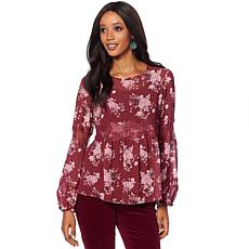 Curations Printed Chiffon Blouse with Cami