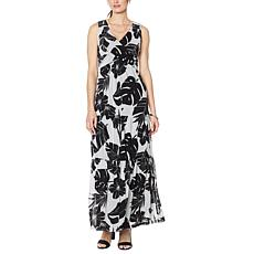 Curations Tiered Mesh Twist Front Maxi Dress