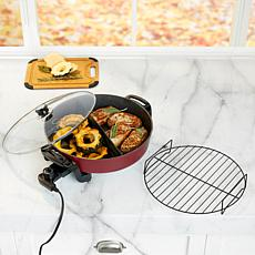 """Curtis Stone Dura-Pan 14"""" Electric Skillet with Removable Divider"""