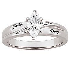 CZ and Diamond-Accented Engraved Wedding Ring