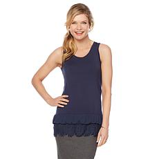 Daisy Fuentes Chiffon and Lace Trim Tank