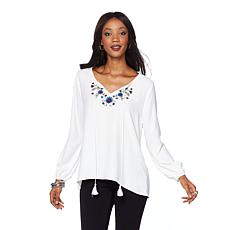Daisy Fuentes Embroidered Blouse