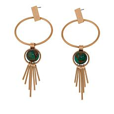 Danielle Nicole Blue Stone Fringe Dangle Circle Earrings
