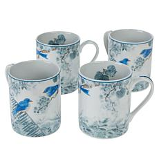Darbie Angell Birds of a Feather Set of 4 Porcelain Mugs