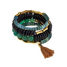 "David Aubrey ""Adrienne"" Green and Black Coiled Tassel Bracelet"