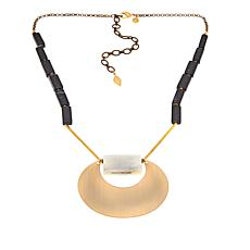 David Aubrey Black and Green Stone Crescent Drop Necklace