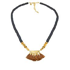 "David Aubrey ""Tilda"" Black Bead Multi Tassel 28"" Drop Necklace"